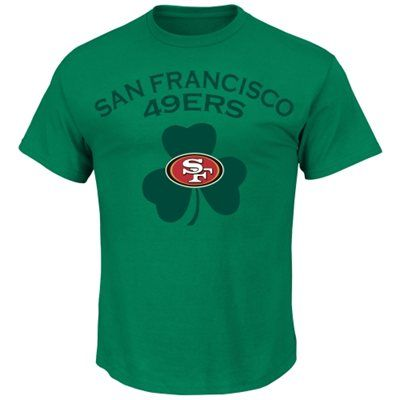 450901ca0e7 Majestic San Francisco 49ers St. Paddy s Day Logo Shamrock T-Shirt - Kelly  Green