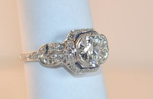 Art Deco Platinum Large Diamond Engagement Ring