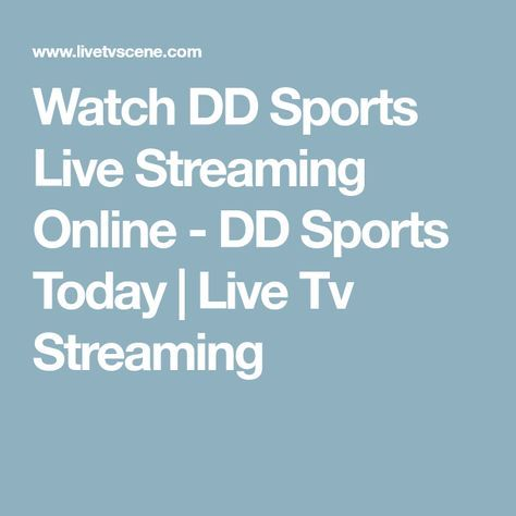 Watch DD Sports Live Streaming Online - DD Sports Today | Live Tv