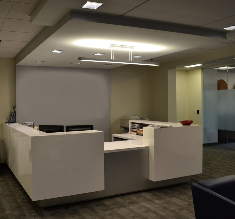 l shaped reception station x x gloss white color core plastic laminate work surface waterfall transaction structures recessed exterior desk wall - Color Core Laminate