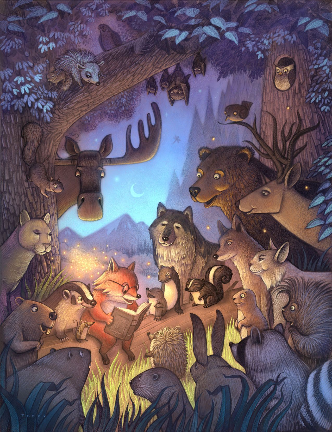 Forest animals listen as fox reads a bed