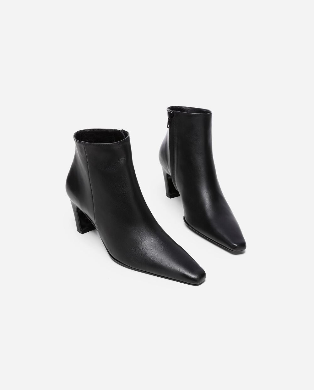 Xenia Leather Black Flattered | Läder, Boots, Ballerinaskor