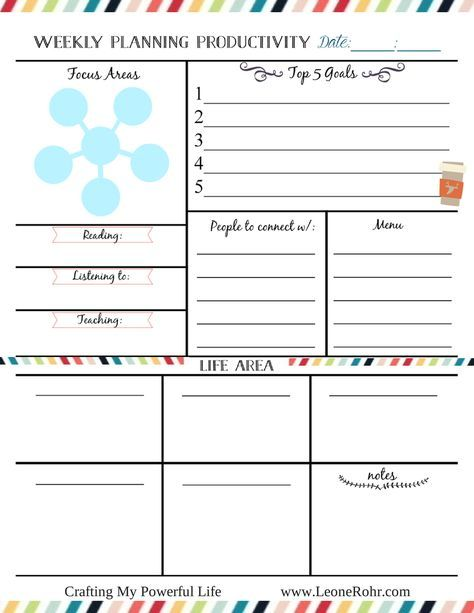 Freebie Free Weekly Planning for Productivity Love the level of - one week planner template