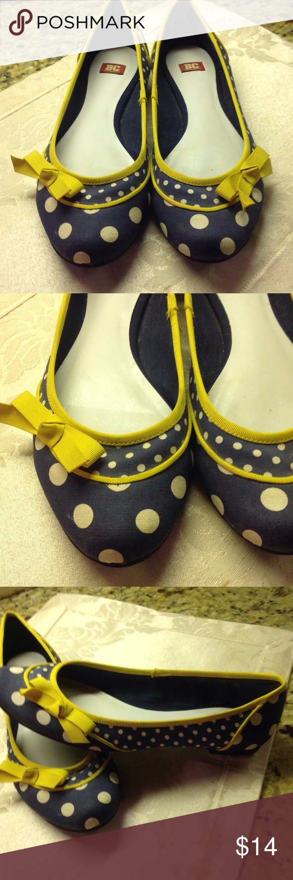 Blue Polka Dot W/Yellow Bow Flat A great shoe that is cute and spunky. This flat is on a blue background with polka dots. The shoe is trimmed with yellow trim and a yellow bow on side. Neat shoe BC Shoes Flats & Loafers