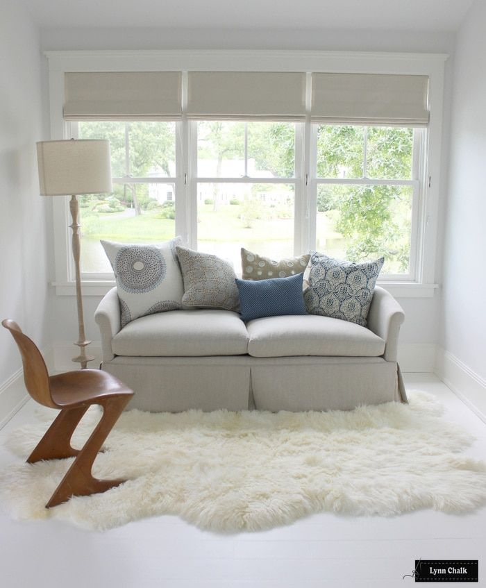 Awesome Curtain Ideas For Bay Window Living Room Eclectic: Holland & Sherry Amalfi White Trevira Sheer Roman Shade In