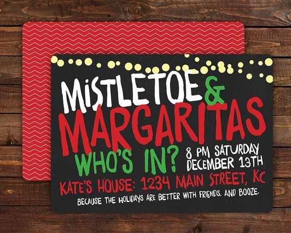 Christmas Party Invitations Holiday Cards Custom Cards Personalized Invitations Christmas Parties Holiday Parties Mistletoe Margaritas CD026