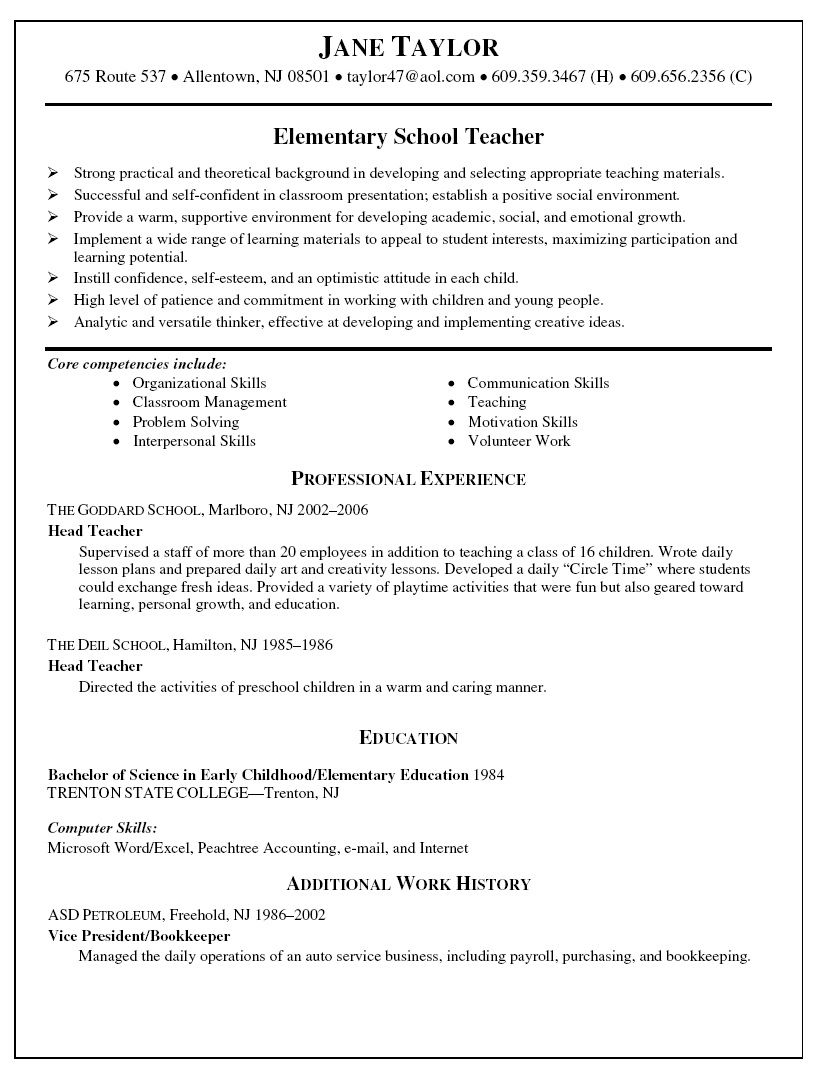 Elementary Teacher Resume Objective Examples