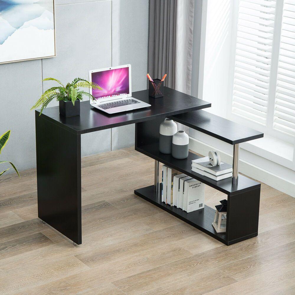 Office Deskorganization: 360 L-Shaped Rotating Corner Computer Desk And Storage
