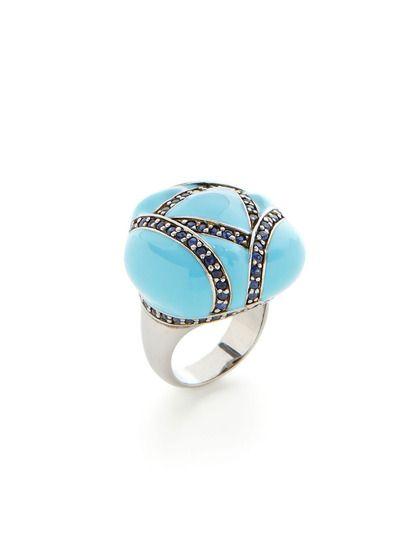 Turquoise Enamel & Blue Sapphire Freeform Ring