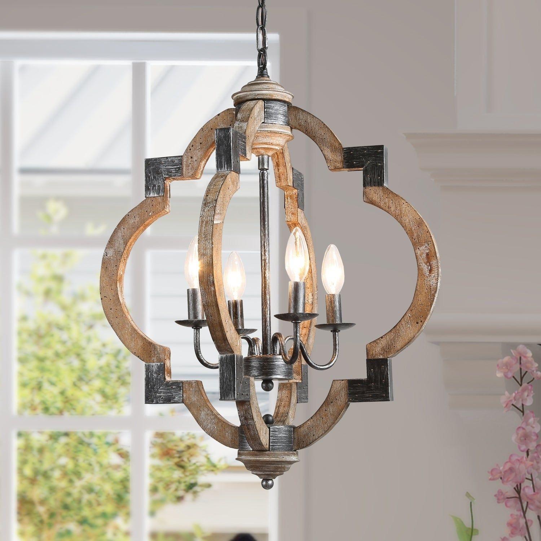 Farmhouse 4lights distressed wood chandelier lantern
