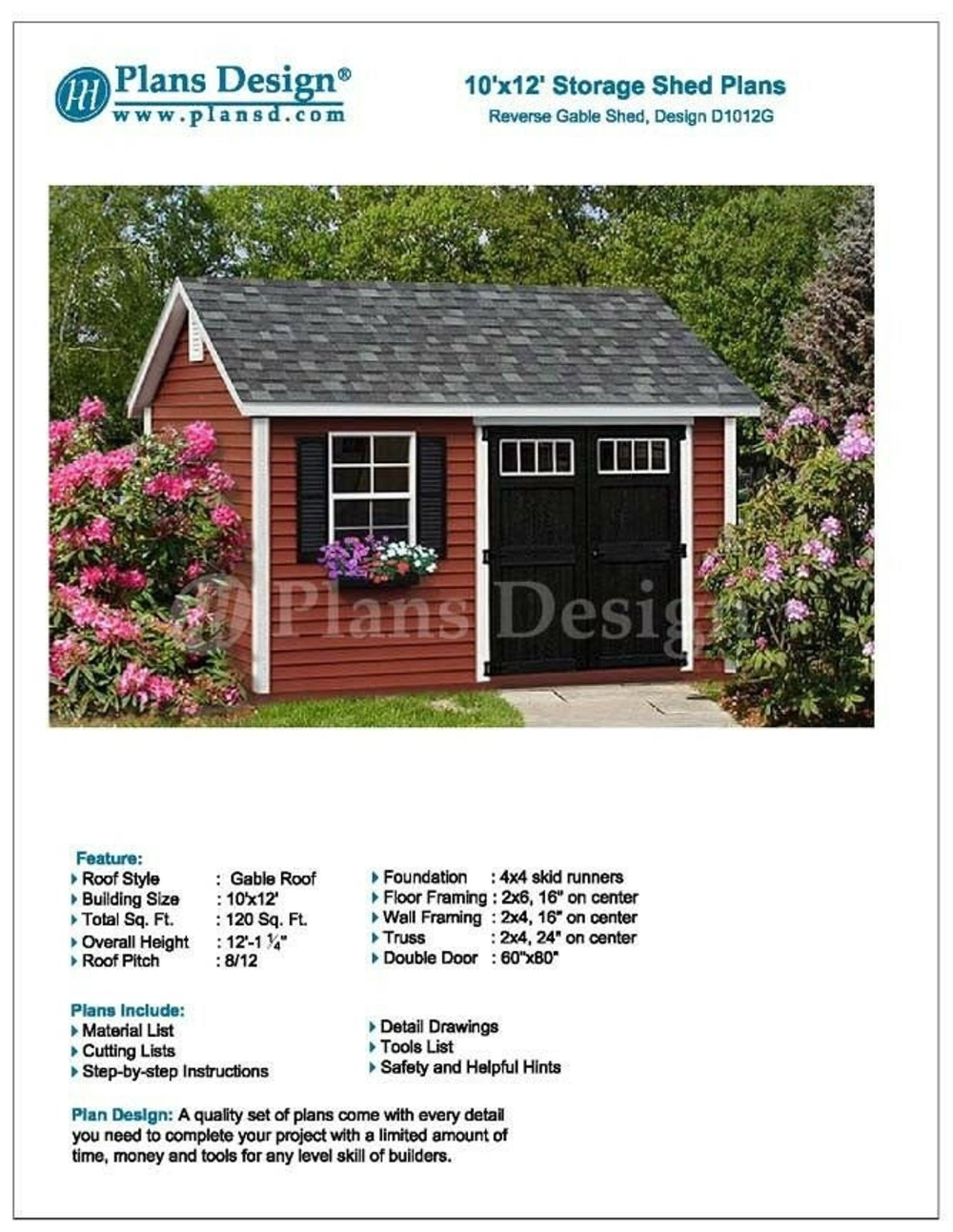 Deluxe Shed Plans 10 X 12 Reverse Gable Roof Style Etsy In 2020 Shed Plans Roof Styles Shed