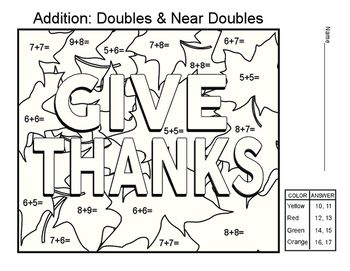 Addition Doubles Near Doubles Math Worksheet Math Worksheet Math Math Worksheets