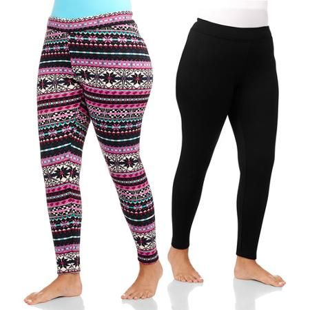 af9b0dd26a2 Concepts Women s Cozy Soft Fleece Skinny Pants 2-Pack - Walmart.com Combo D   13 size 1x