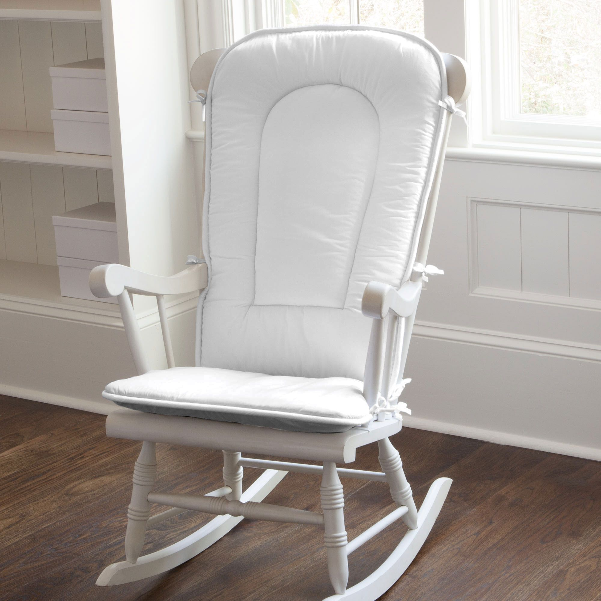Solid White Rocking Chair Pad Dos