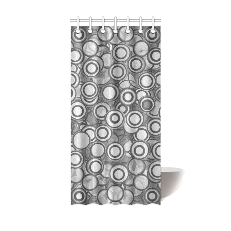 Transparent Fun Circles Retro In Black And Gray Shower Curtain 36