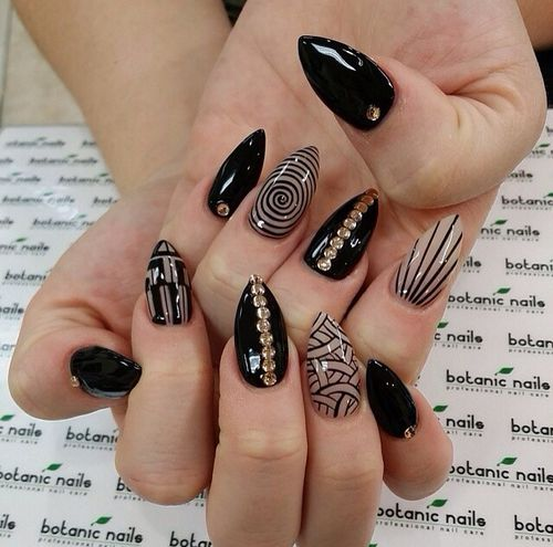 Black And Gold Designed Nails Pictures Photos And Images For
