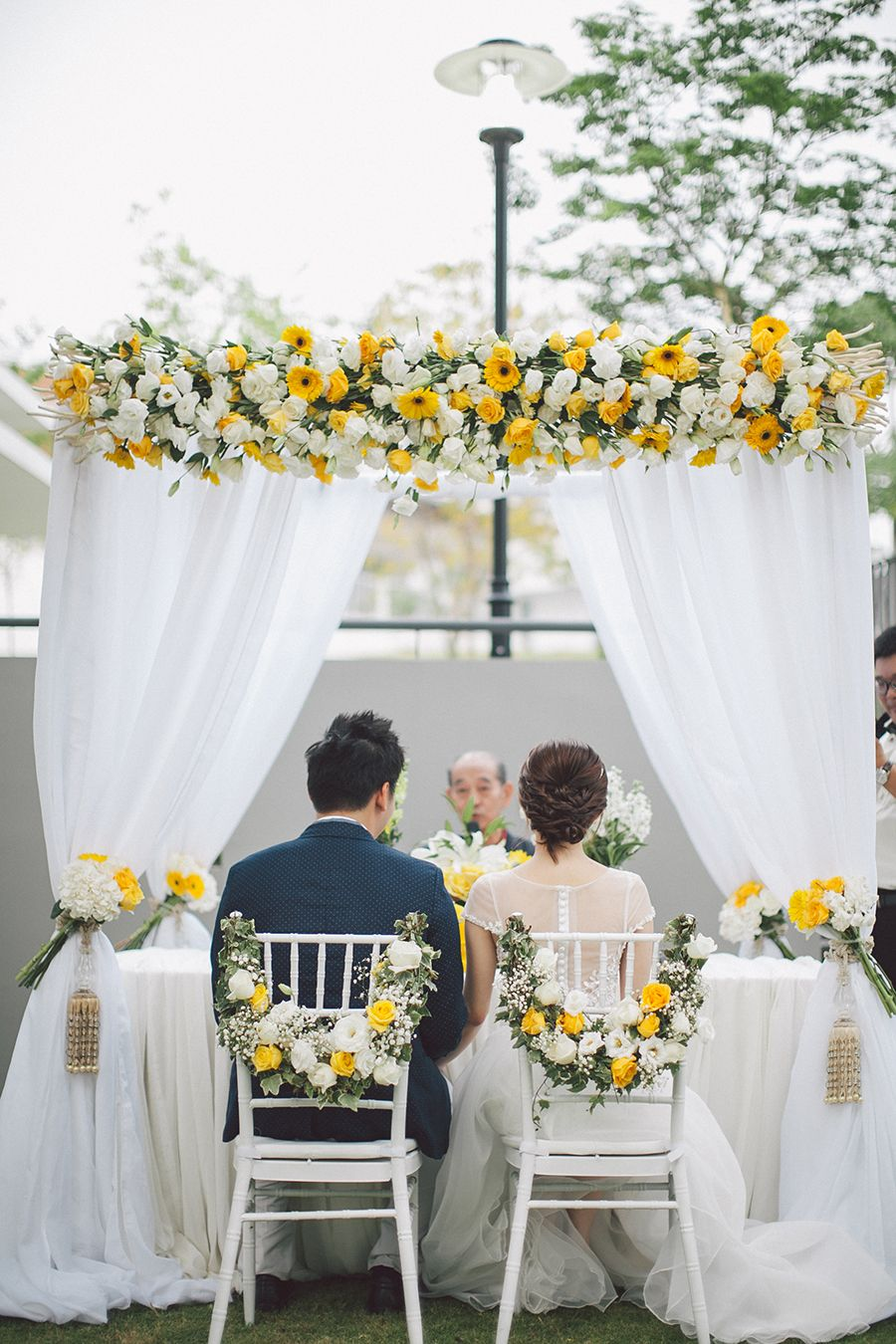 and it was all yellow: fong lik and victoria's home garden wedding