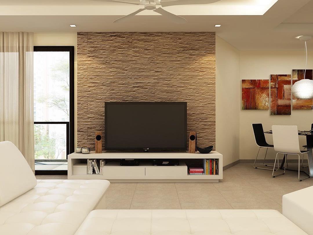 Slate Tiles As Tv Feature Wall Interiordesign Livingroom