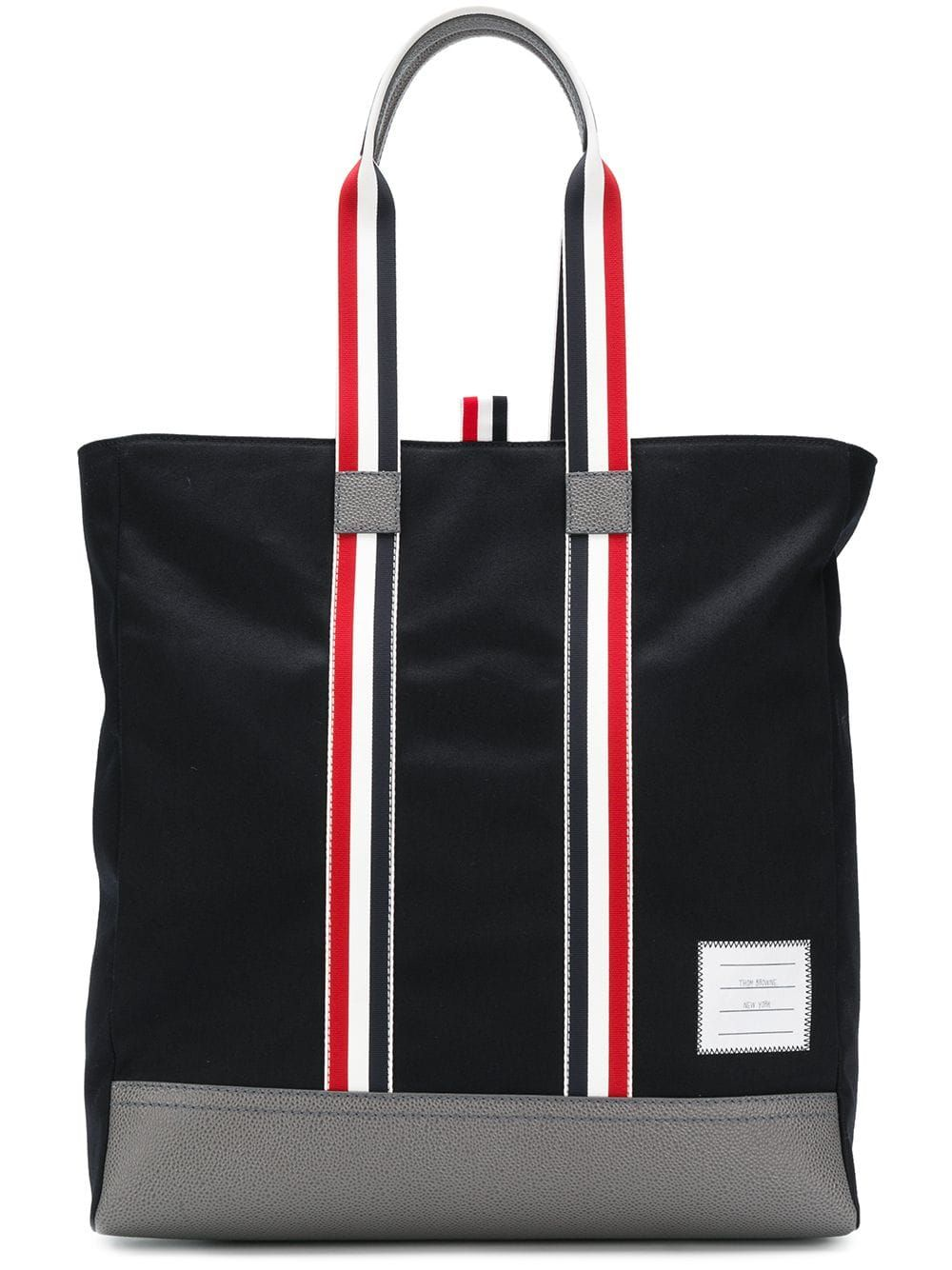 THOM BROWNE THOM BROWNE LEATHER BASE UNSTRUCTURED TOTE BAG - BLUE.   thombrowne  bags  leather  hand bags  tote  cotton b5300a0f51f34