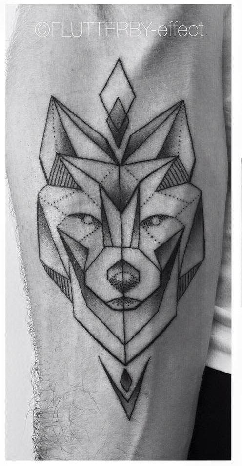Simple Geometric Wolf With Arrowheads Forearm Tattoo Geometric Wolf Tattoo Wolf Tattoos Geometric Wolf