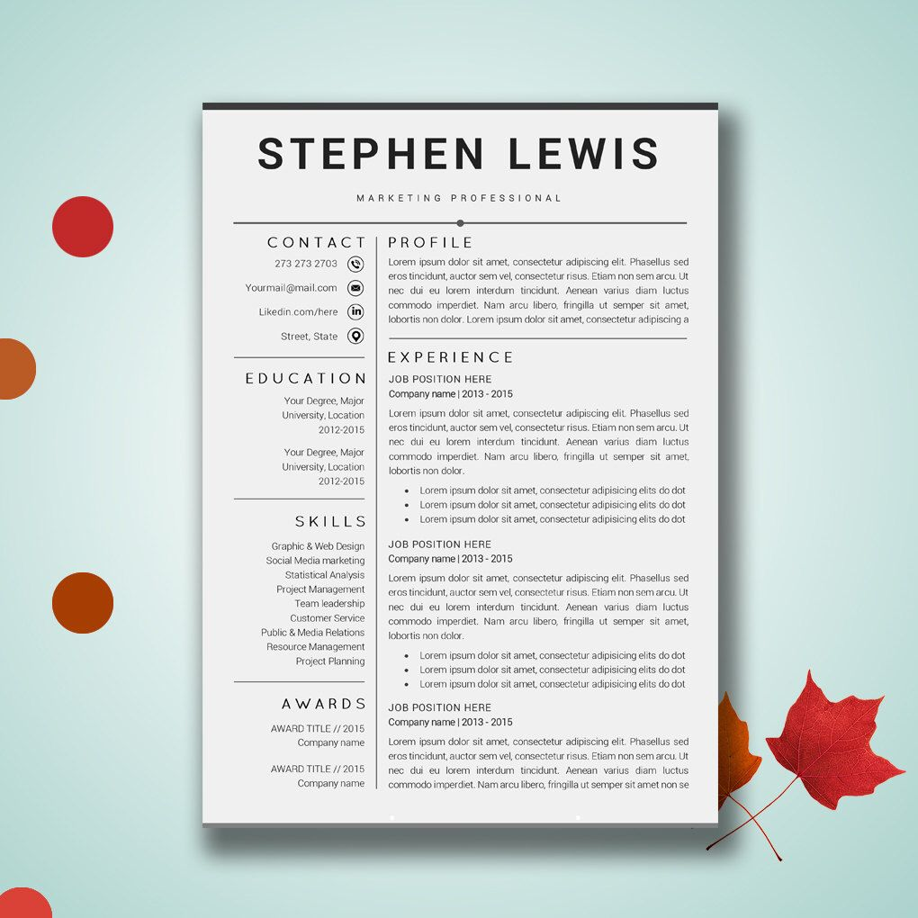 Resume Template Word  Cv Template Cover Letter Paper Letter