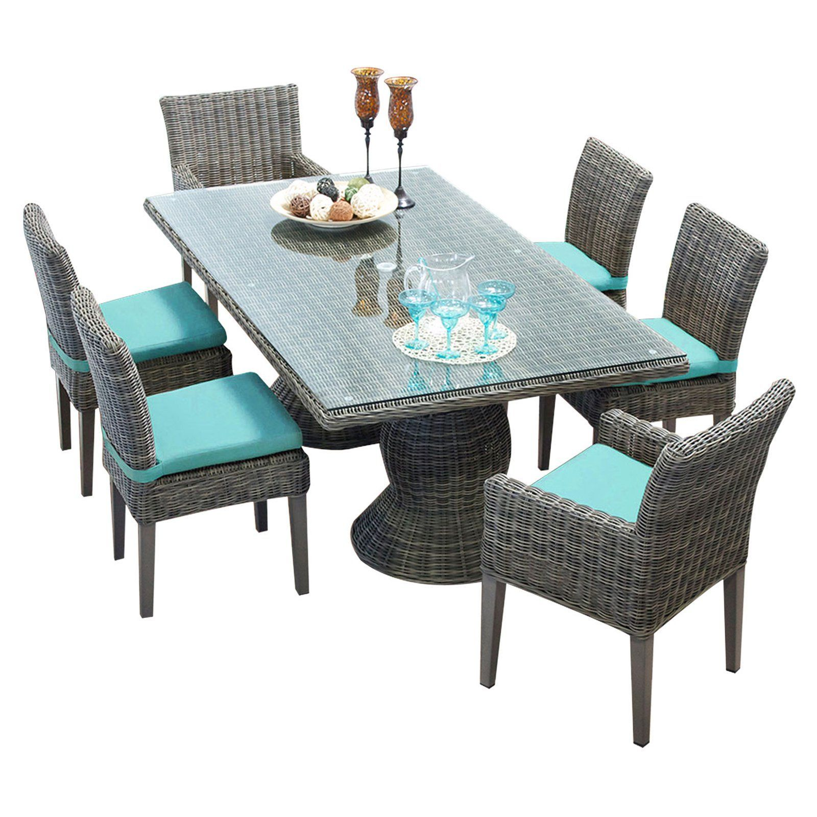 TK Classics Cape Cod Wicker 7 Piece Rectangular Patio Dining Set with 12 Cushion Covers | from ...