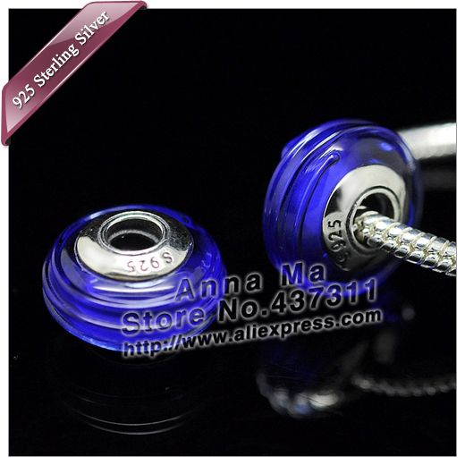 2pcs S925 Sterling Silver Blue Ribbon Screw Murano Glass Beads Fit European dora Charm Bracelets & Necklaces ZS030