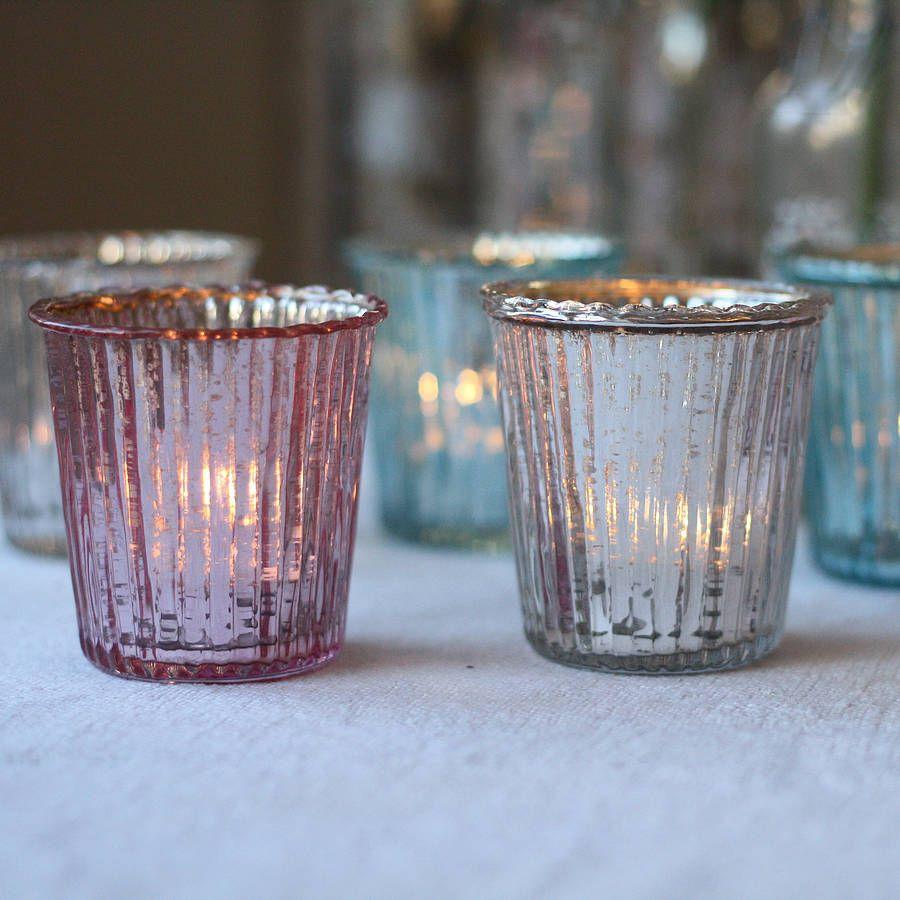 Superb Glass T Light Holders Part - 7: Ribbed Mercury Glass Tea Light Holder