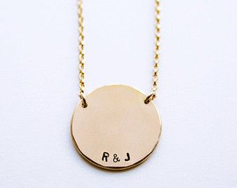 Our sterling silver initial necklace features a 9mm wide round round pendant necklace initial pendant necklace personalized round necklace name necklace handstamped disc necklace luca jewelry aloadofball Image collections