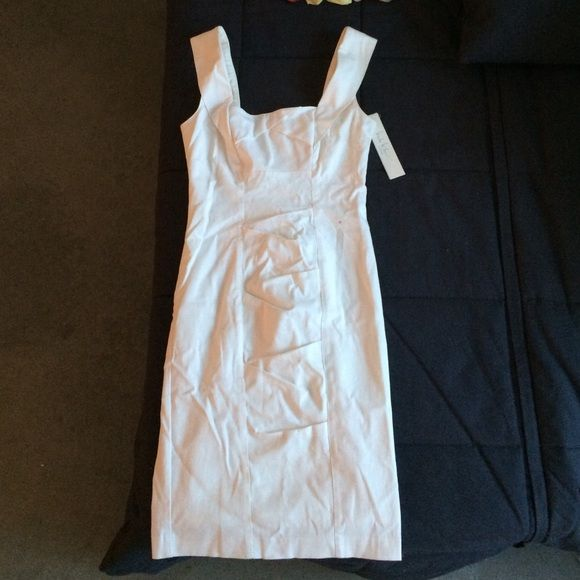 Nicole Miller white pleated dress Cute fitted dress that's perfect for a bachelorette or bridal shower/wedding rehearsal etc. brand new never worn (thanks to a fickle bachelorette :P Nicole Miller Dresses