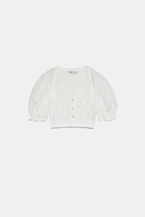 Zara Woman Oversized Shirt With Faux Pearl Button Oversized Shirt Shirts Zara
