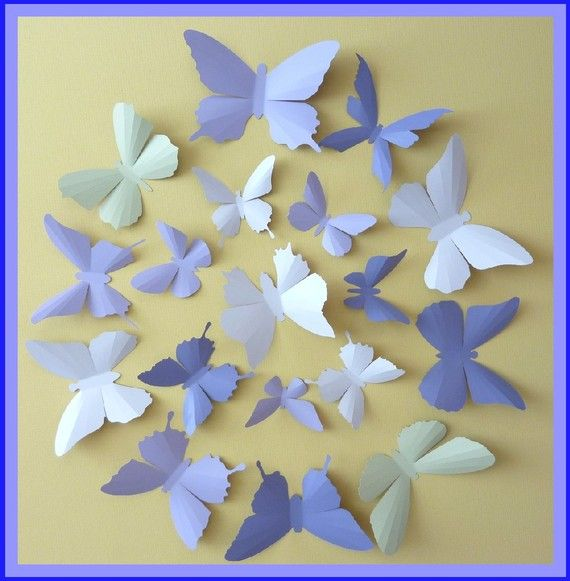 3D Wall Butterflies - 15 Lavender, Lilac Purple, Tea Green, Pink ...