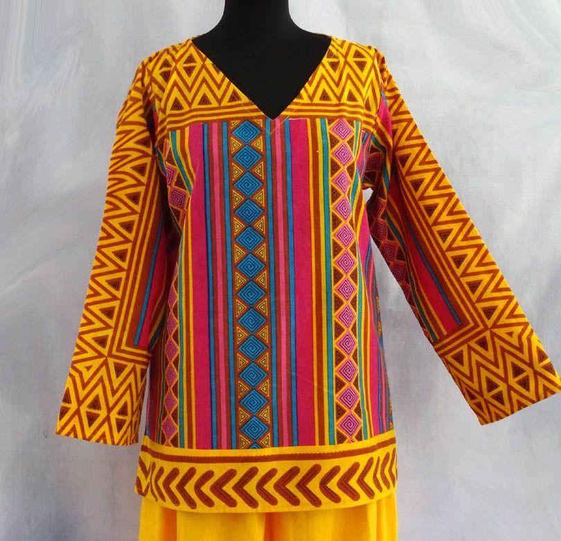 Femme Coton Rose Et Tunique Jaune Pull Tribal Multicolore Motif En OPXkiuTwZ