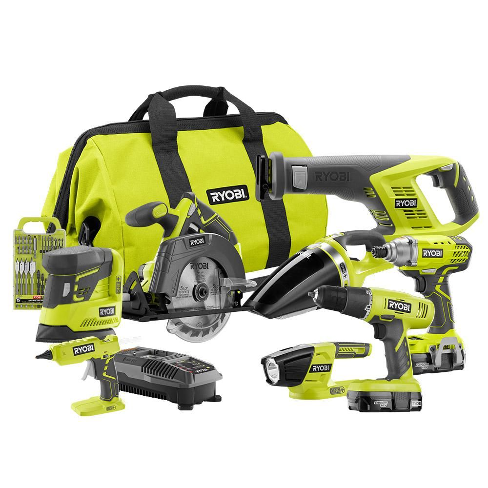 Lithium-Ion Cordless Super Combo Kit 4-Piece Drill//Driver Saw Ryobi 18-Volt ONE