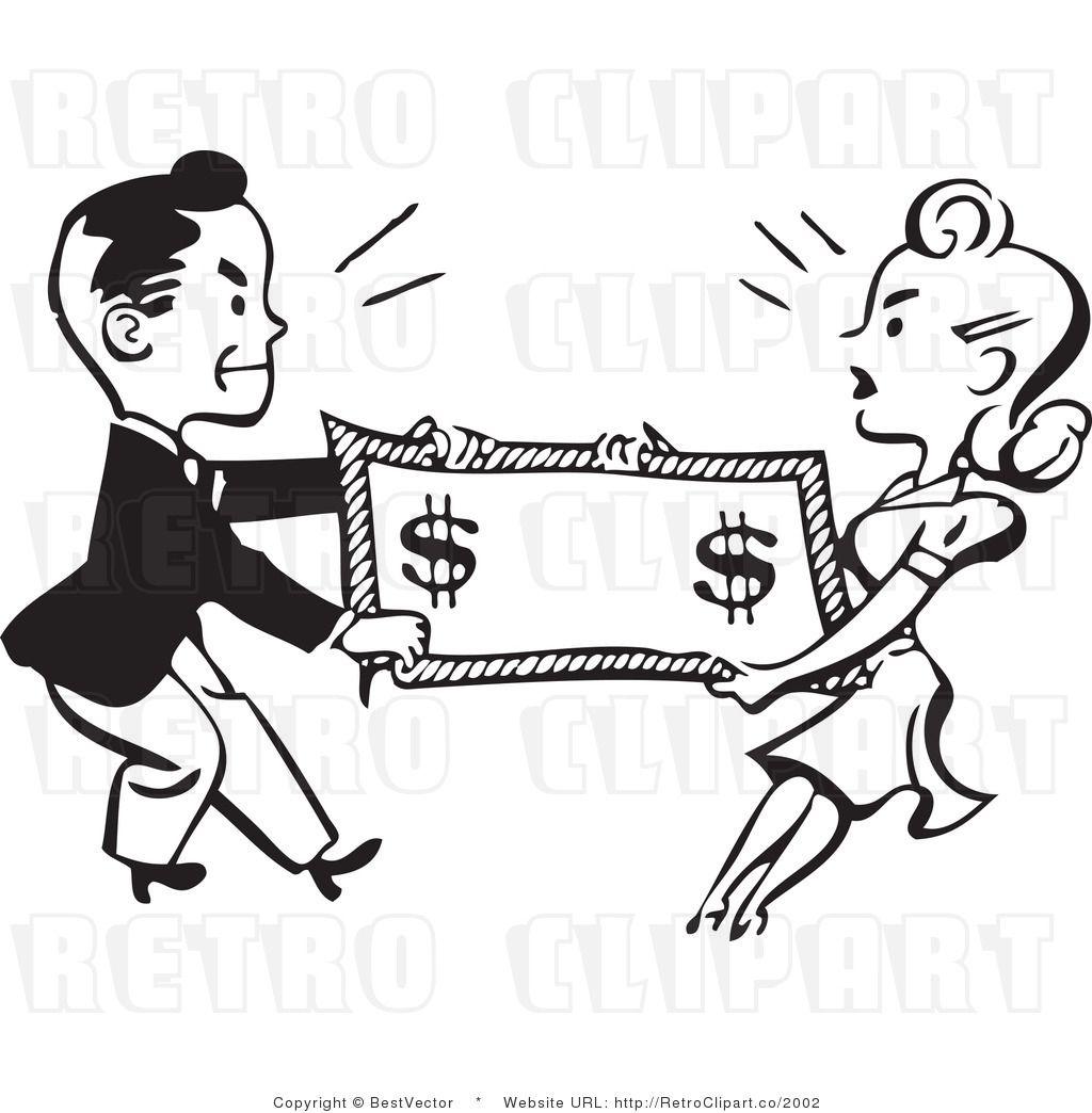 Tug Of War Retro Man And Woman Fighting Over Money Children S Book Illustration Clip Art Book Illustration