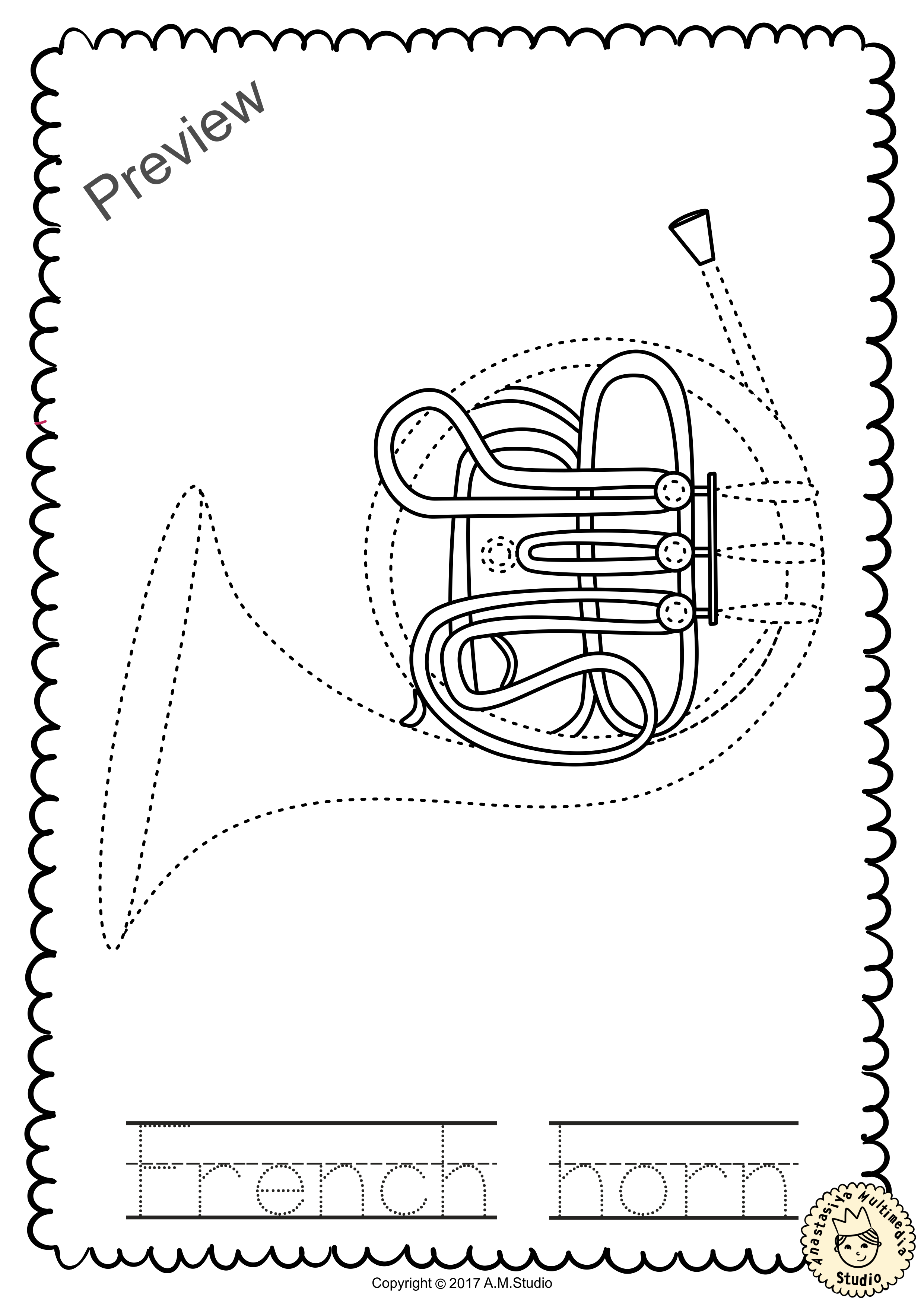 Brass Instruments Trace And Color Pages