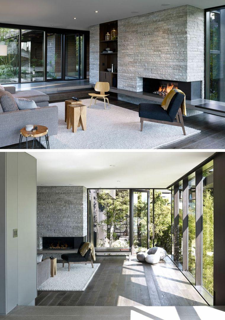 Maison rénovée à seattle salon avec cheminée