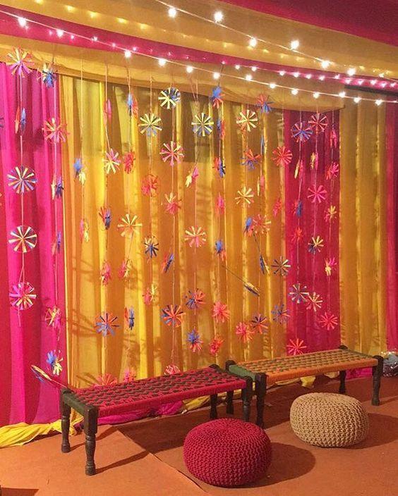 Simple Wedding Stage Decoration Ideas: #Pinwheel Decor#simple Mehendi Decor#Sangeeth Decor