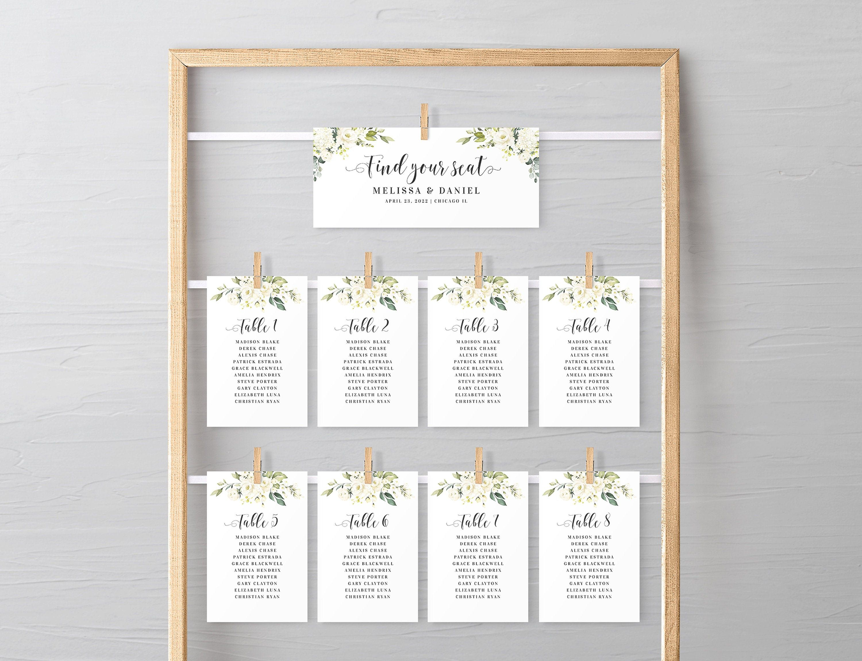 Seating Chart Cards Template Fully Editable Wedding Seating Etsy Seating Plan Wedding Wedding Planning Printables Wedding Seating