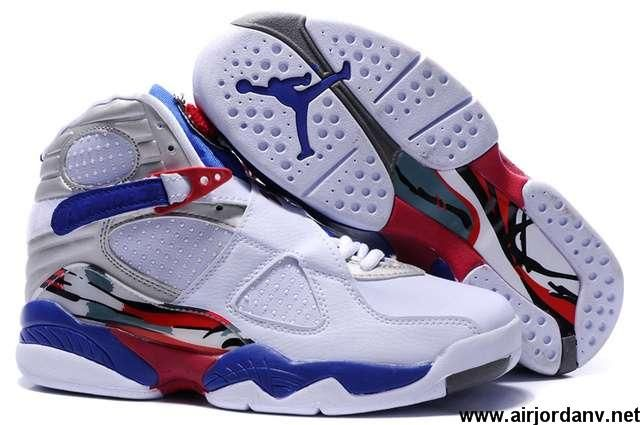 free shipping cf986 5b4c5 Latest Listing Discount White carmine sky blue Light Graphite Air Jordan 8  Embroidery Retro Fashion Shoes Shop