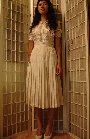 Cream Knife Pleat Skirt