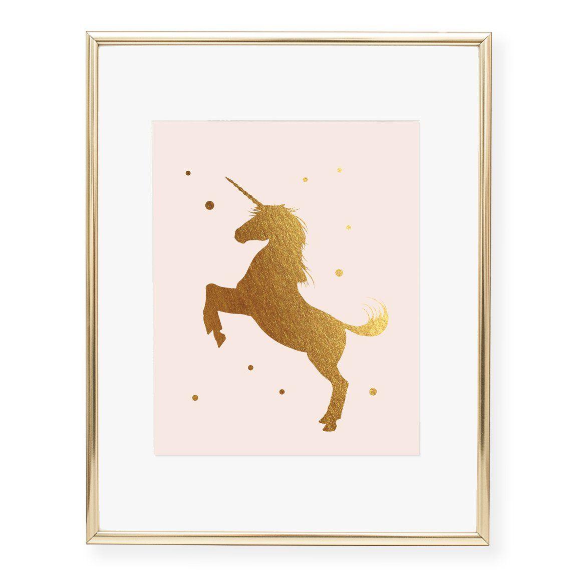Unicorn Foil Art Print Foil Art Unicorn Bedroom Decor Art Prints