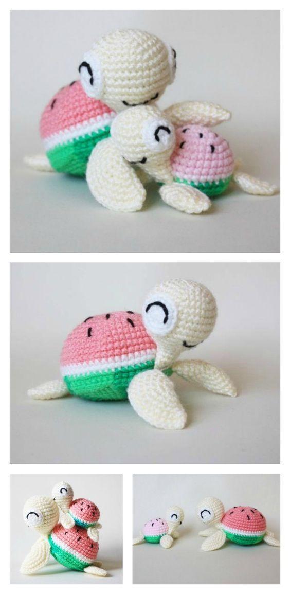 Crochet Watermelon Turtles Amigurumi Free Pattern | haken ...