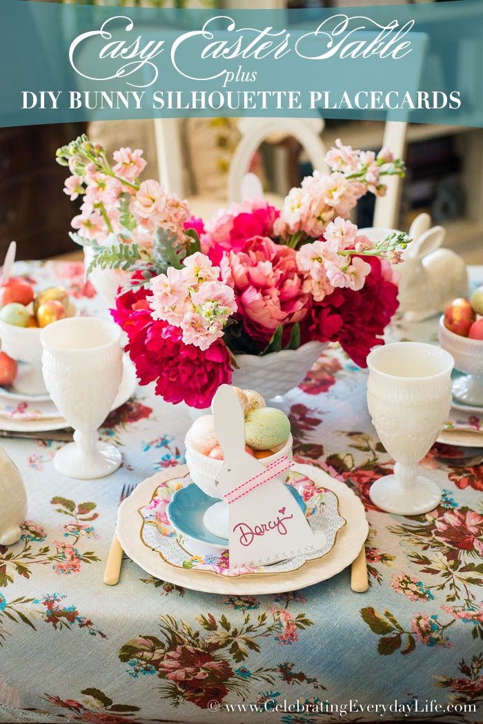 Easy Easter Tablescape with DIY Bunny Placecards + a Giveaway ...