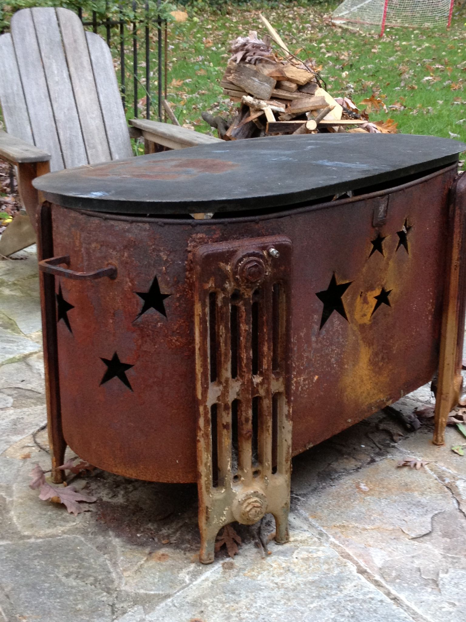 Repurposed Oil Tank Fire Pit In 2019 Metal Fire Pit