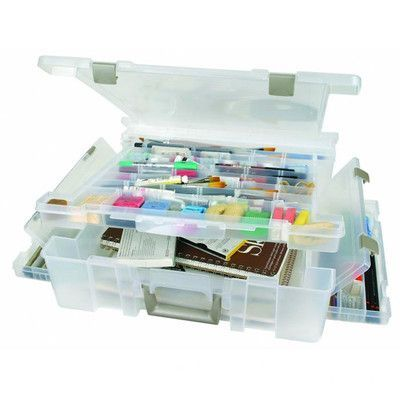 ArtBin Super Satchel Deluxe in Translucent with Divided Lid / One Compartment Base