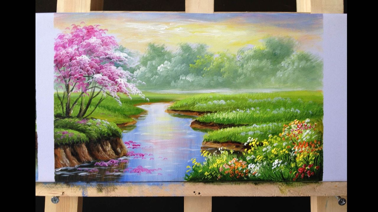 How To Paint Riverbank With Acrylics Lesson 2