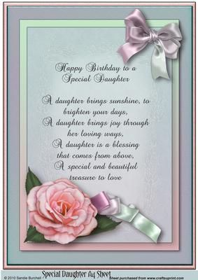 Happy Birthday Daughter Cards Verses For 50th