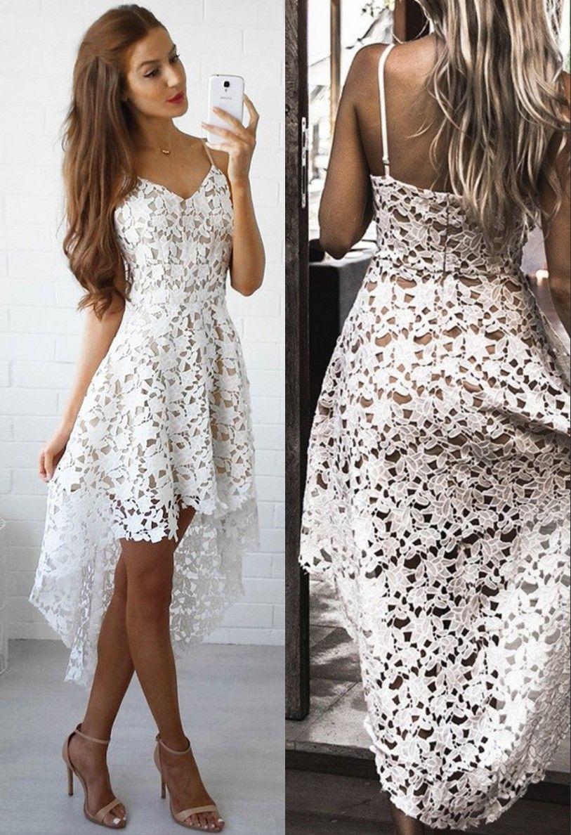 High Low Spaghetti Straps Gorgeous White Lace Homecoming Dress Backless Lace Dress Lace Homecoming Dresses Elegant White Dress [ 1188 x 813 Pixel ]