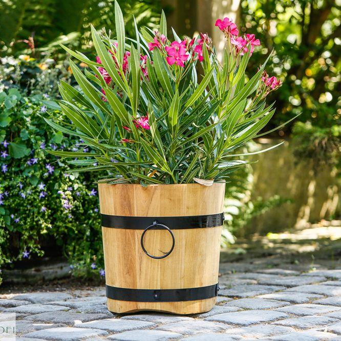 Fioriera in legno di Robinia a forma di botte | Idee per il ...
